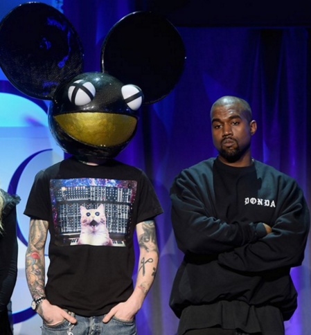 Screenshot of Kanye West and Deadmau5 together at the TIDAL launch event.