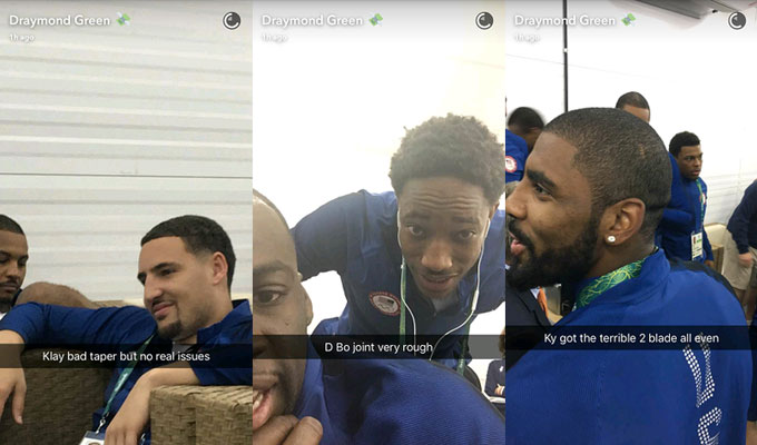 Draymond Green Snapchats the hairlines of a trio of Team USA teammates.