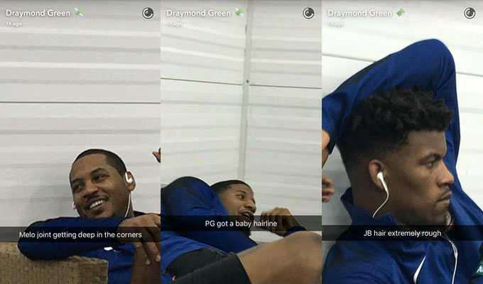 Draymond Green takes pictures of his teammates' hair for Snapchat.