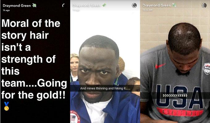 Draymond Green Snapchats Kevin Durant's hair.