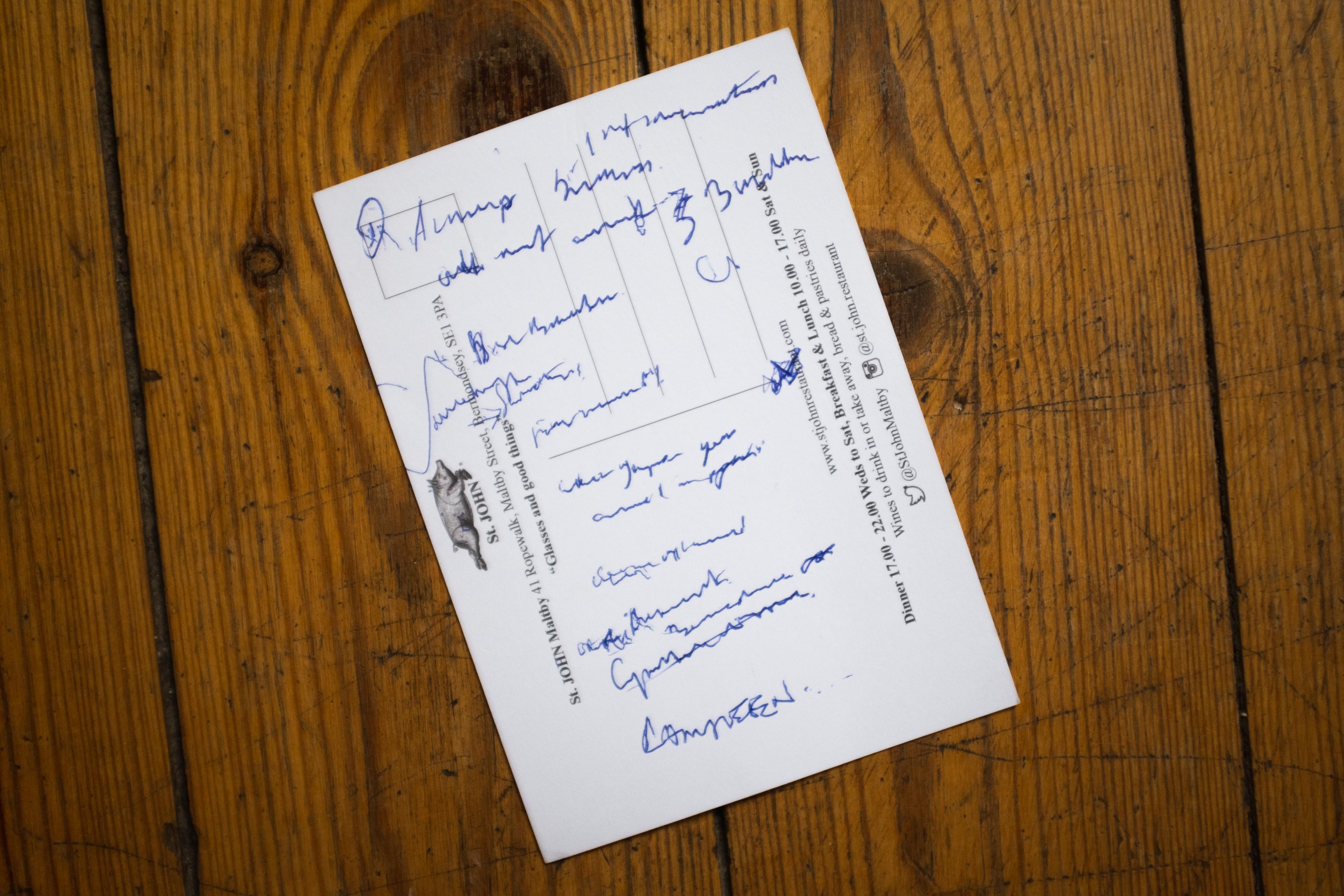 Fergus Henderson hand-written note