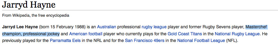 Hayne's wikipedia page has already been vandalised.