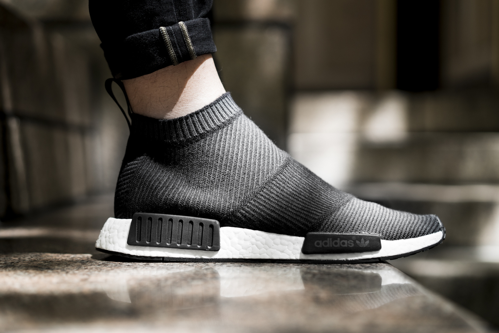 chaussures de sport e1213 81725 Adidas NMD City Sock Black White On Feet | Sole Collector