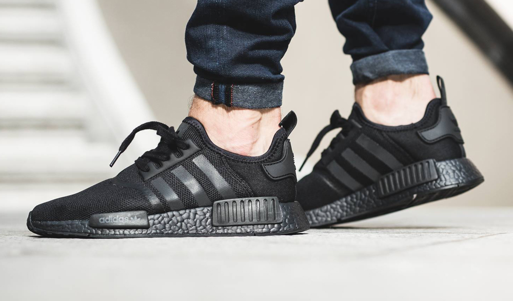 Triple Black Adidas NMD On Feet | Sole