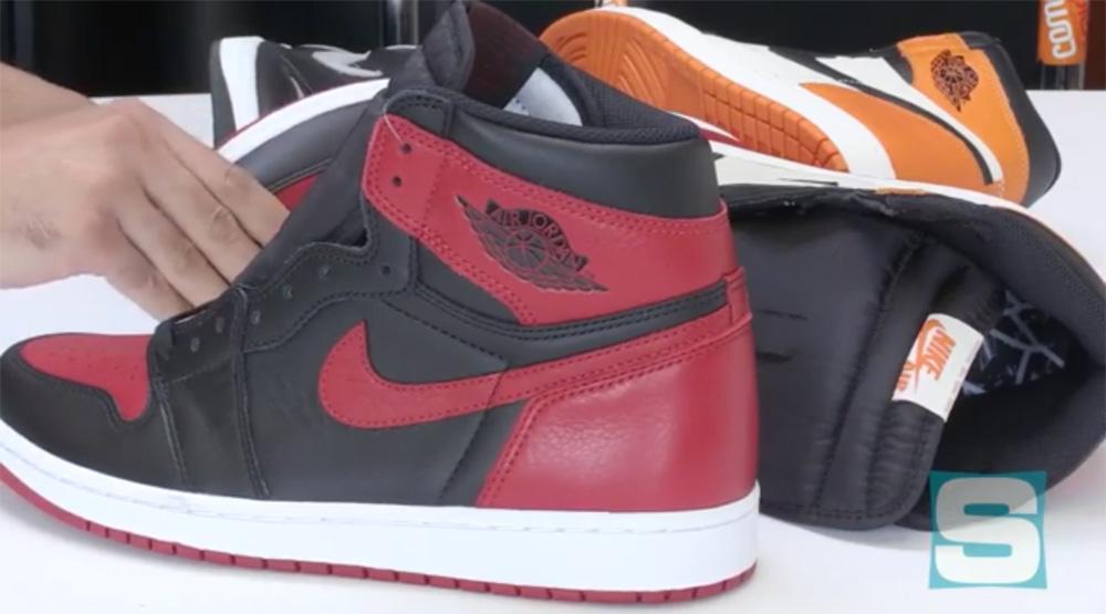 Air Jordan 1 Banned Unboxing Comparison