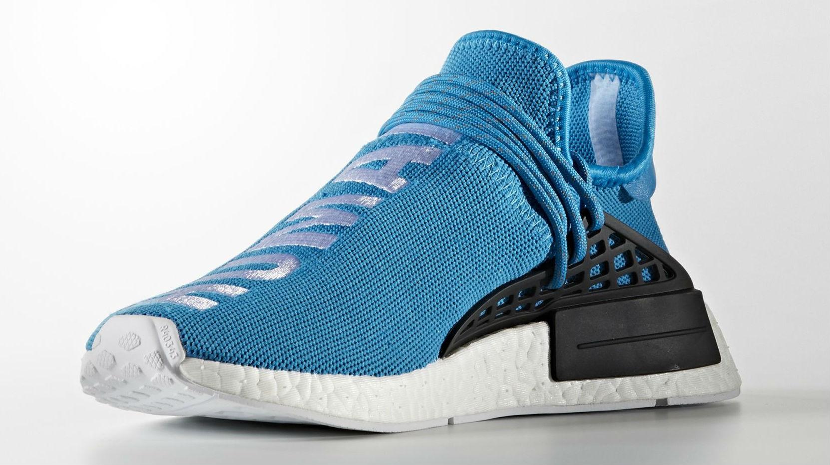 Blue Pharrell adidas NMD Human Race Medial