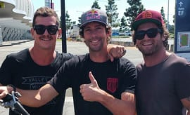 Titans Greg Bird and Beau Falloon pictured with Travis Pastrana