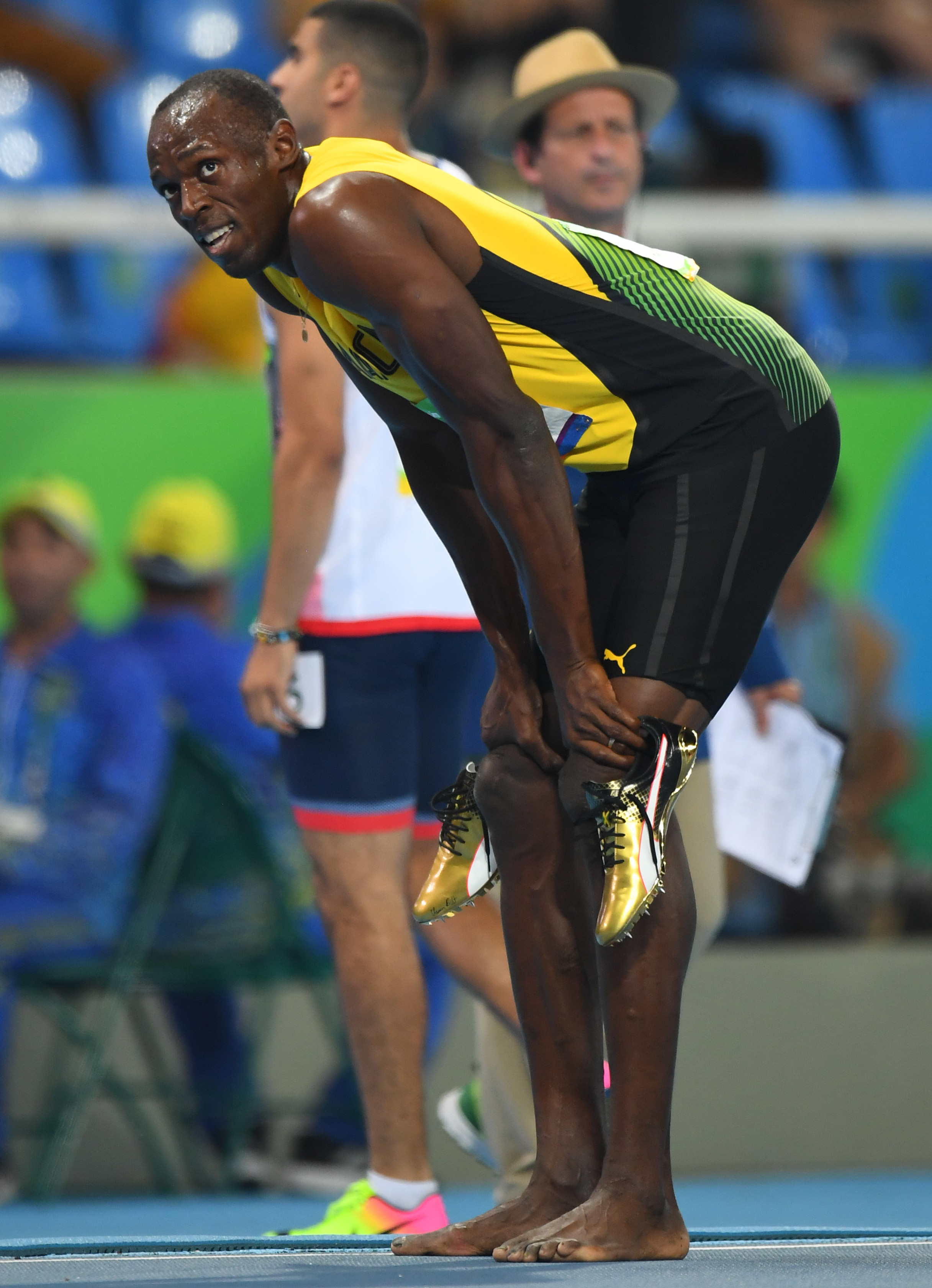 Usain Bolt's Gold Puma Spikes for the
