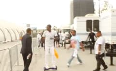 See Meek Mill rolling and nearly losing his balance