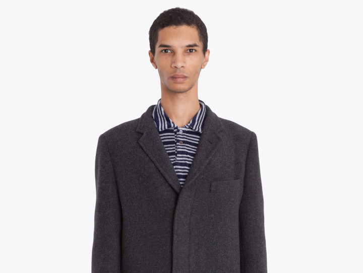 tres bien classic wool coat charcoal