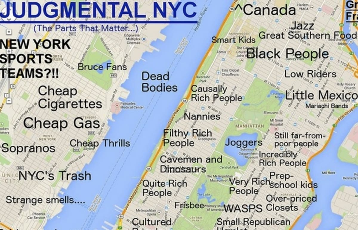 Judgmental Map Identifies NYC Stereotypes by Neighborhood Complex