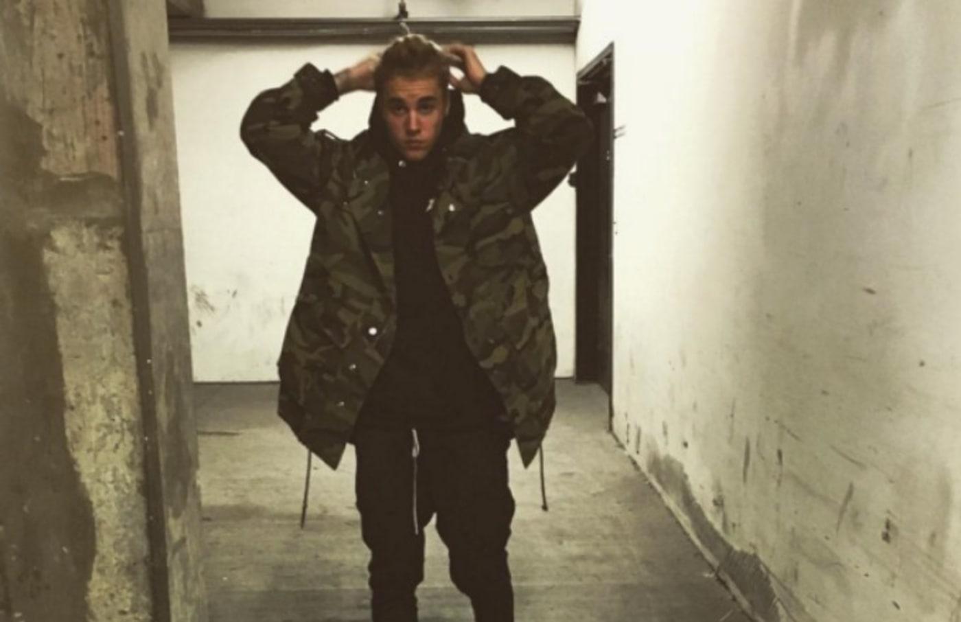 justin bieber instagram selfie army jacket