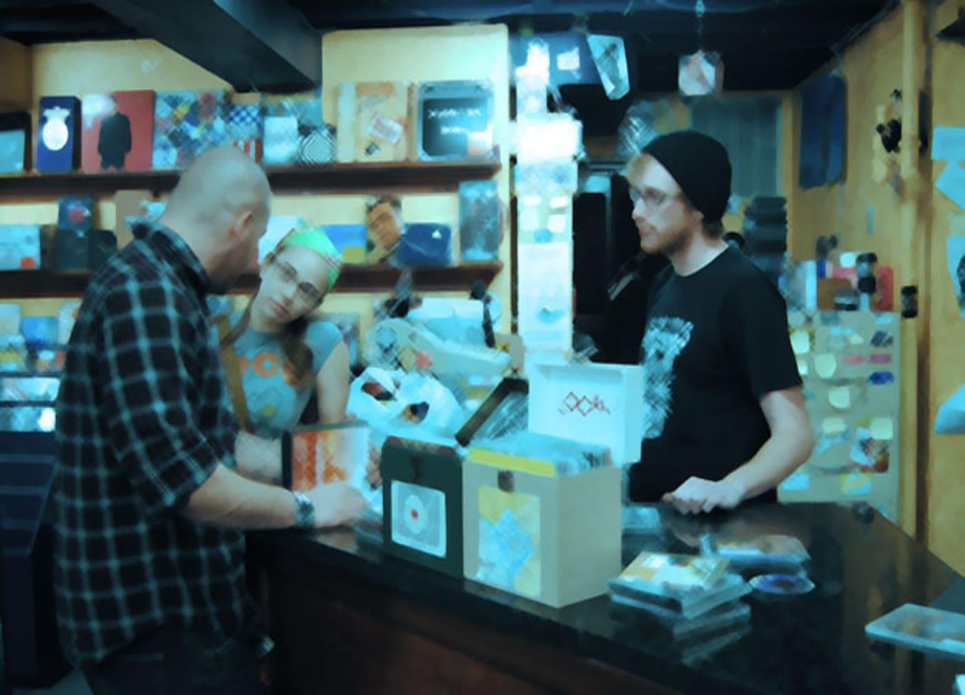 record shop counter li
