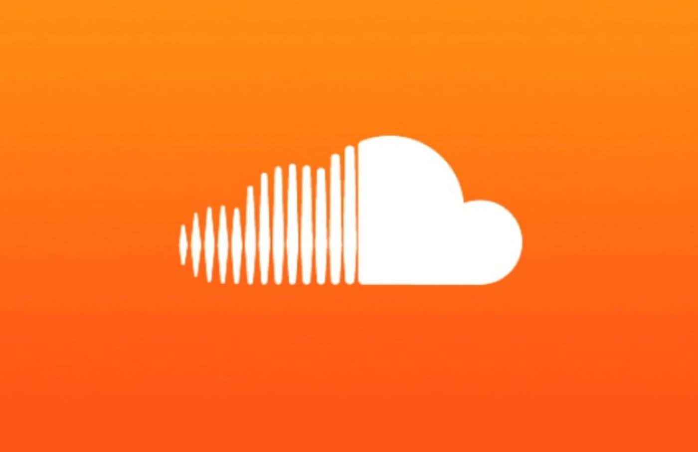 soundcloud logo white cloud orange backdrop