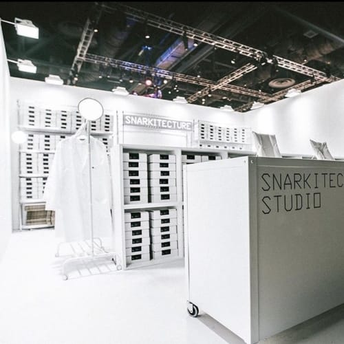 Snarkitecture's white minimalist studio set up