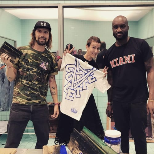 Collette Forever! Sarah Andelman of Colette with Virgil Abloh and Pedro of Club 75 Official. Sarah's holding Colette's 2008 first-ever T-shirt design collab with Virgil!