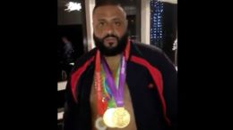 DJ Khaled wears Carmelo Anthony's 3 Olympic gold medals.