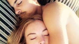 Lindsay Lohan and Boyfriend Sleeping