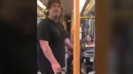 Video still of racist train attack