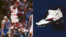 Hakeem Olajuwan in a 1995 Spalding Signature Sneaker