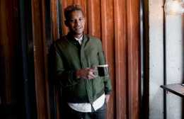 Roble Ali A.K.A. Chef Roble wears the COACH MA-1 jacket in surplus nylon at his restaurant Streets in Williamsburg.