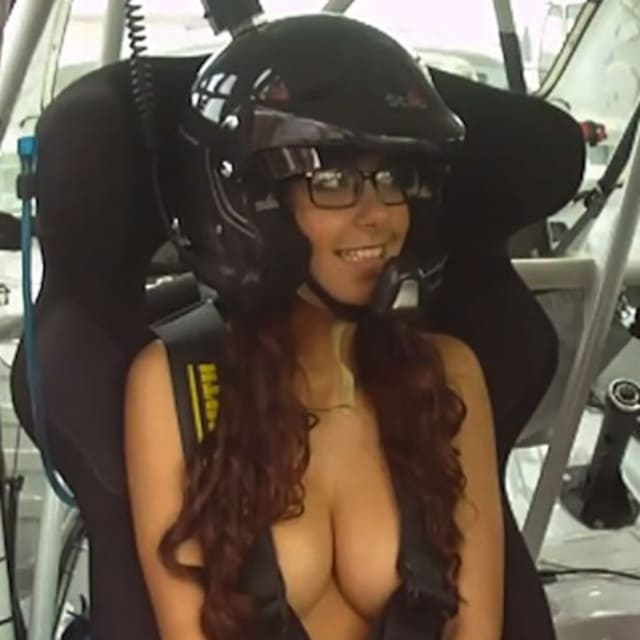 Topless Girl Goes For A Ride In A Really Fast Rally Car