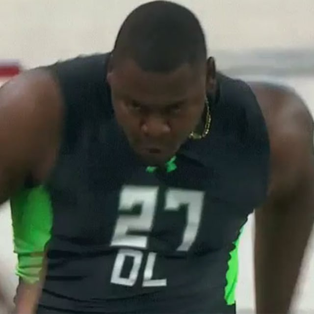 prospect has his d k pop out during yard dash at nfl