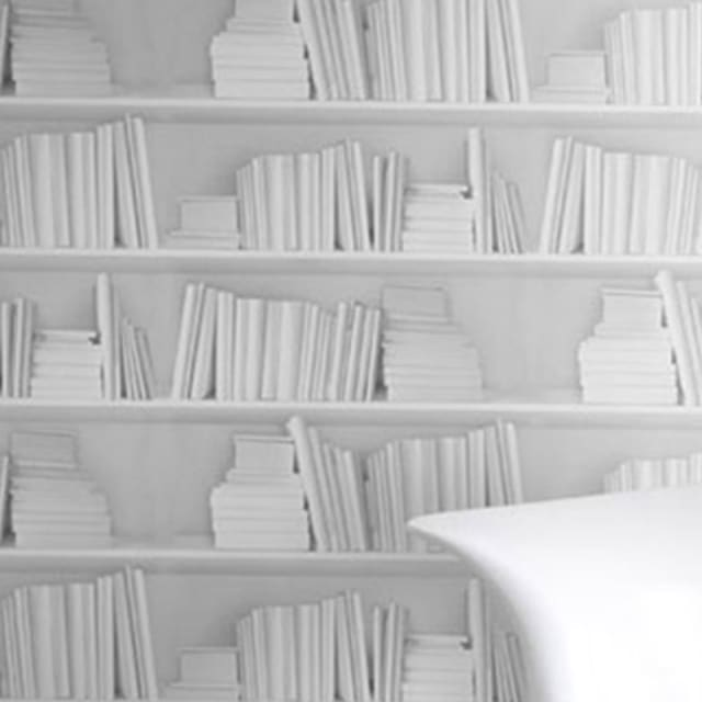 white bookshelf wallpaper complex