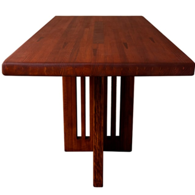 Dining table made from reclaimed bowling alley wood complex for Complex table design