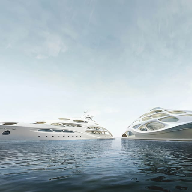 zaha hadid has designed a superyacht complex. Black Bedroom Furniture Sets. Home Design Ideas