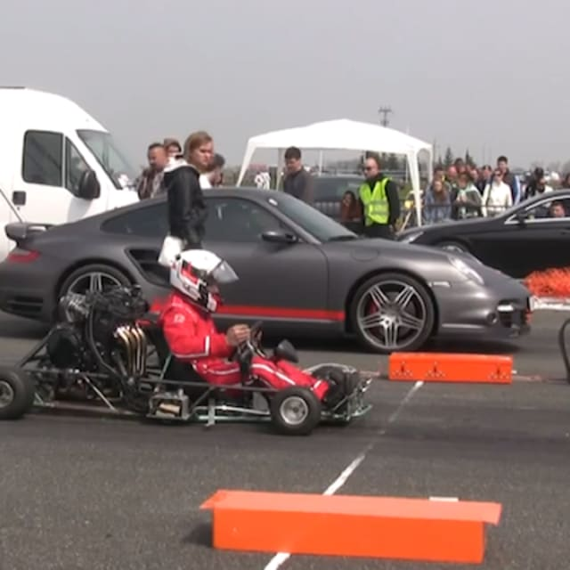 Turbo Harley Drag Race: A Porsche 997 Turbo Takes On A Suzuki Go-Kart In The