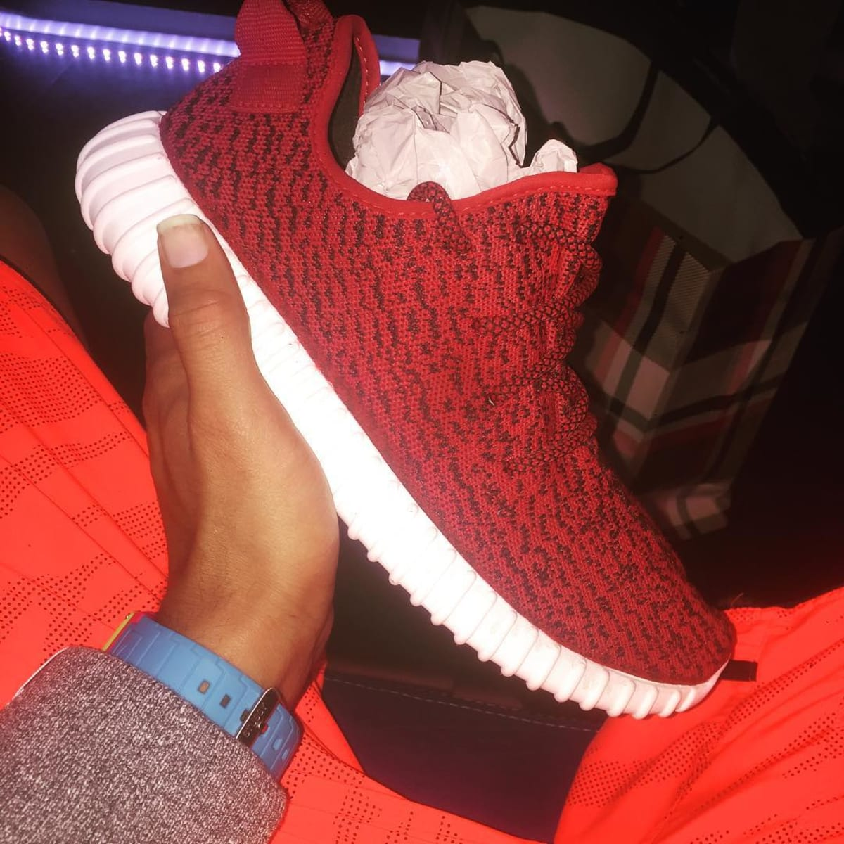 Chris Brown S Quot Red Quot Adidas Yeezy Boost 350 Customs Complex