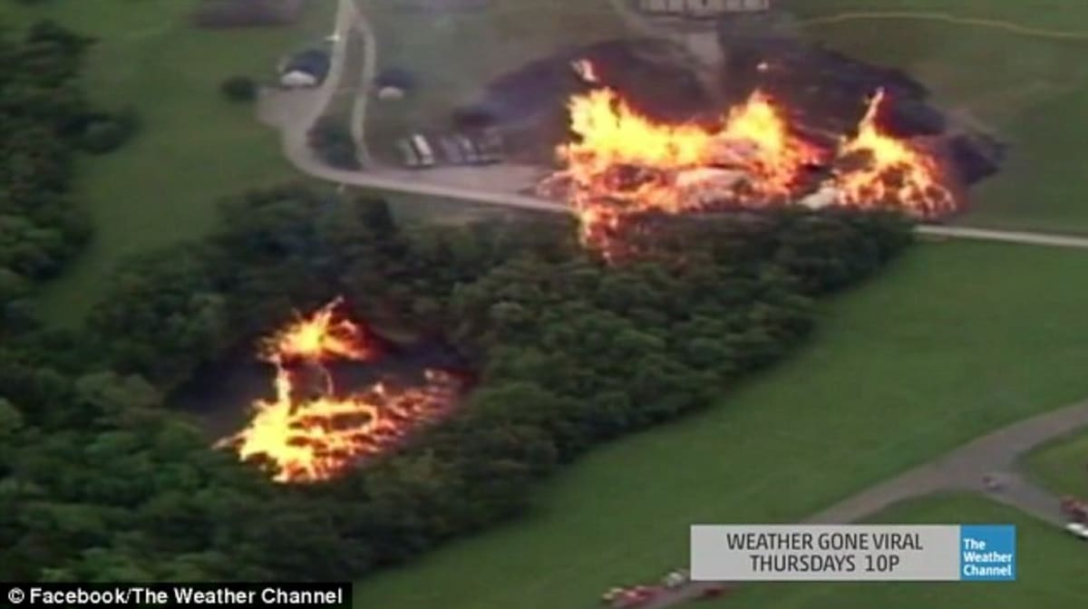80,000 Gallons of Jim Beam Spill Into A Lake and Catch Fire Due to Freak Weather Storm