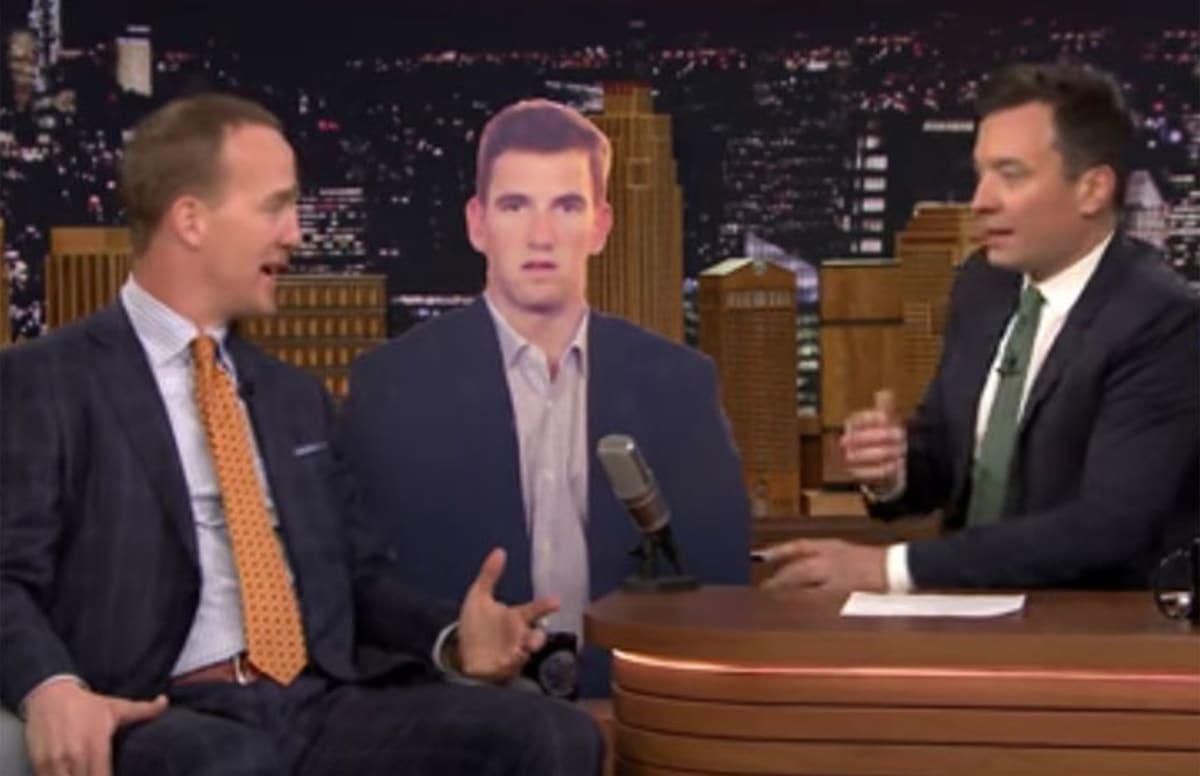 peyton manning cracks jokes about elis unenthusiastic