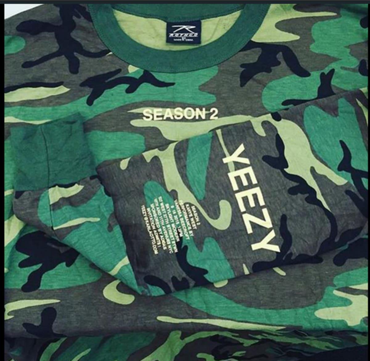 b02e64e75 Kanye West s Yeezy Season 2 Invites Are Printed On  13 Camo Long Sleeve  T-Shirts