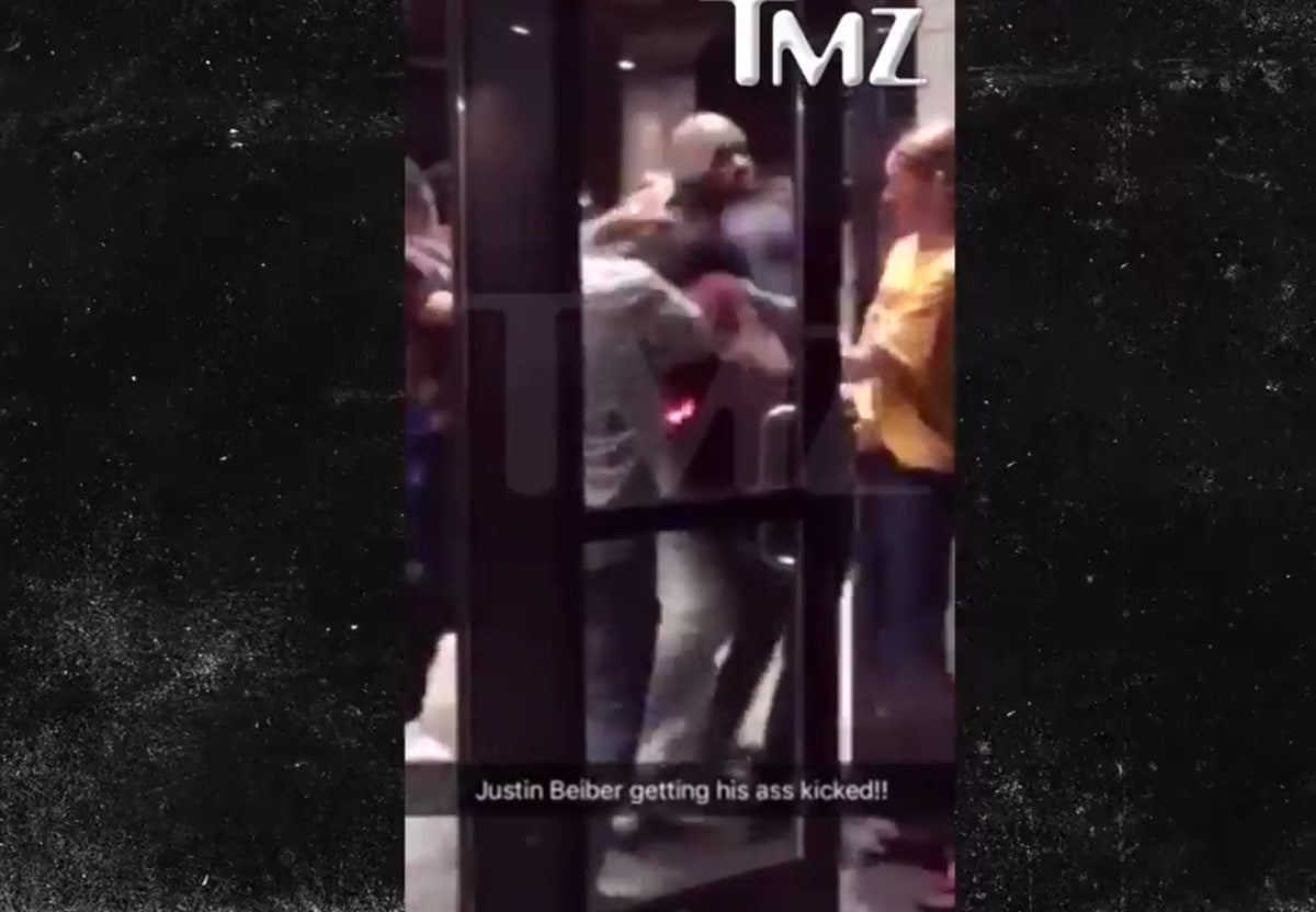 Here's Crazy Video of Justin Bieber Fighting With a Much Bigger Dude After NBA Finals (UPDATE)