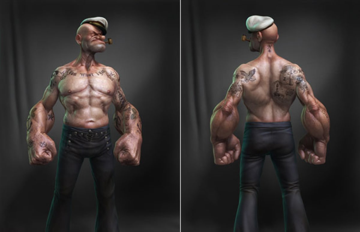 3d rendering of popeye the sailor man complex