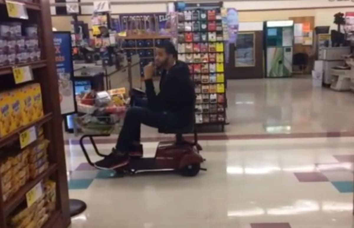Enjoy This Video Of Javale Mcgee Driving A Motorized Shopping Cart Around A Grocery Store With