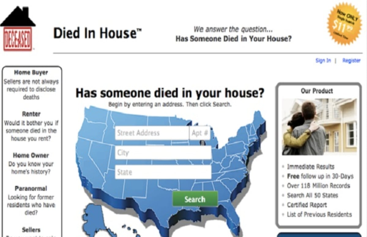 Diedinhouse Com Find Out Who Died In Your House If You Really Care Complex