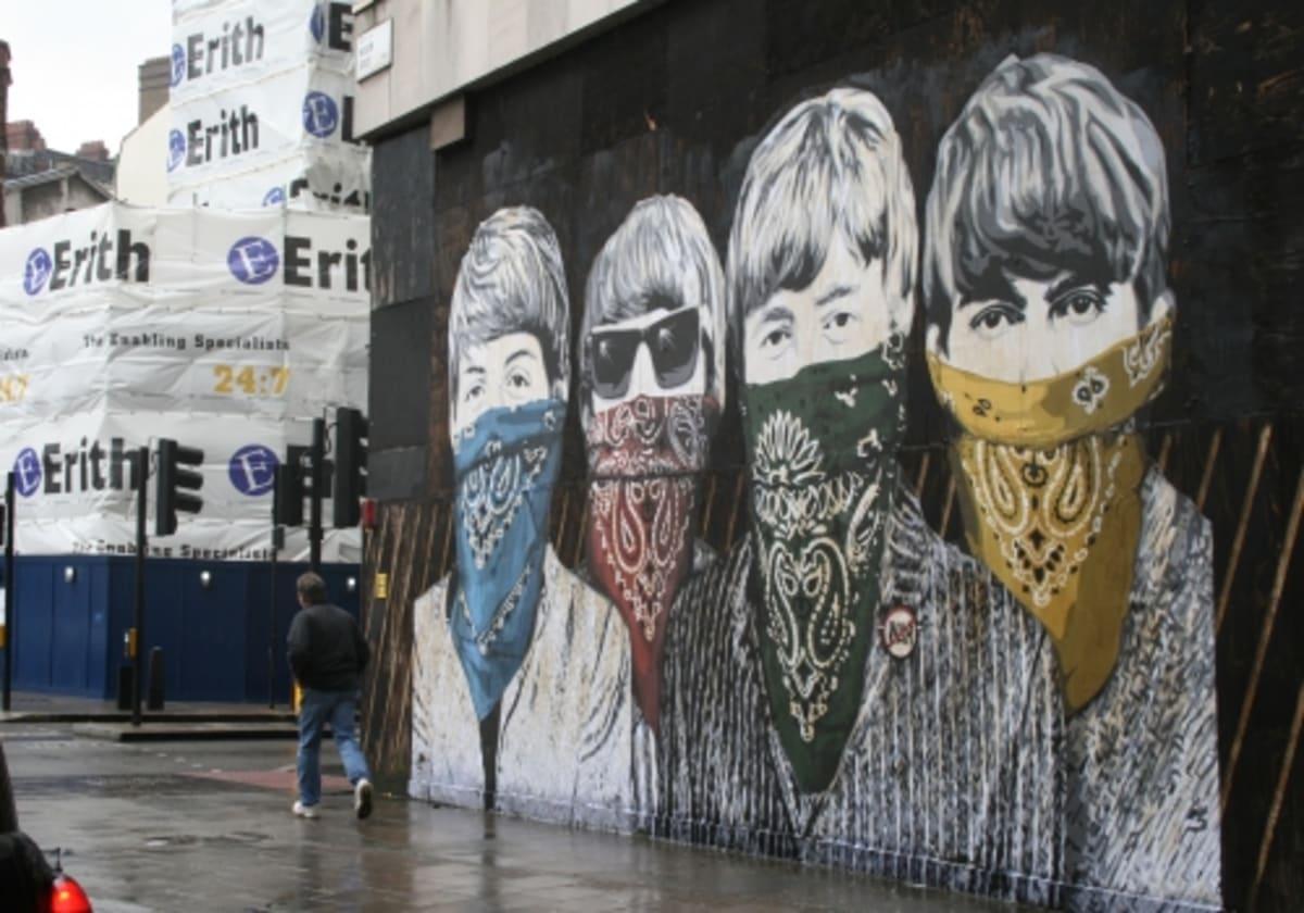 Mr brainwash rumored to be the artist behind beatles for Mural by mr brainwash