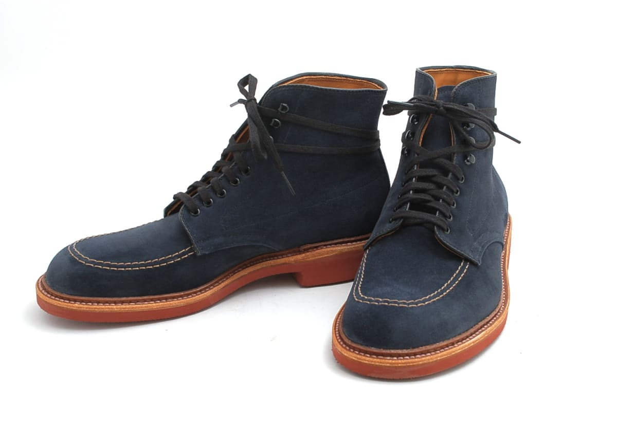 Blue suede swag added to the new alden indy boots for for The alden