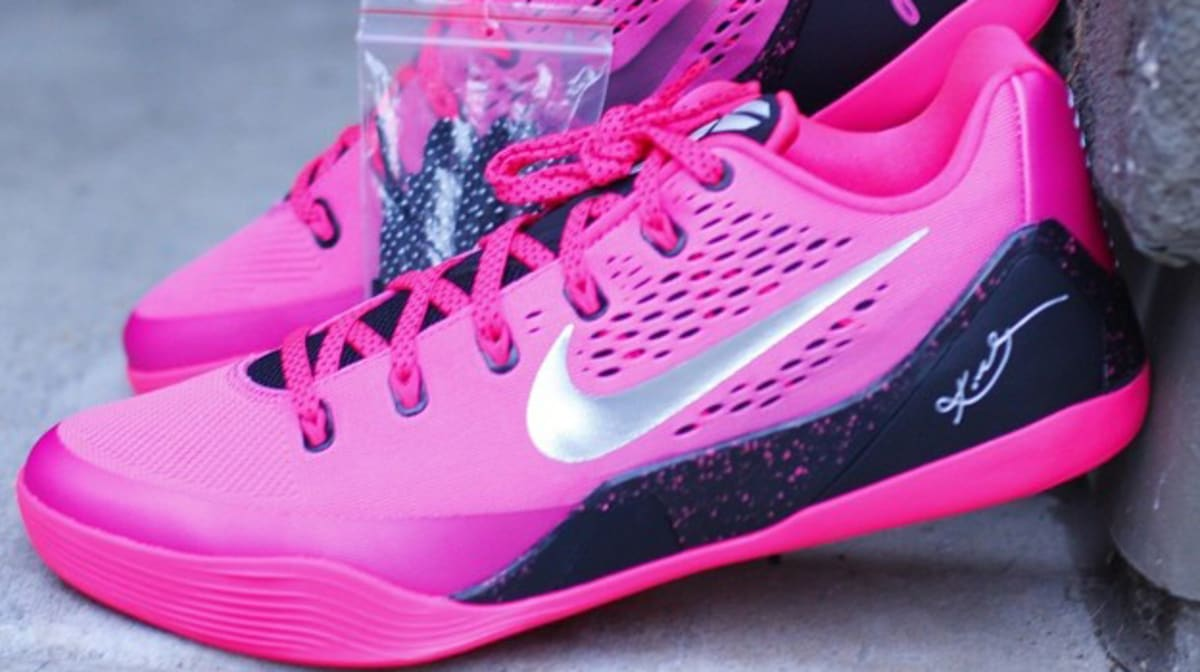 the latest 95fa2 29853 ... Nike Raises Awareness for Breast Cancer with the Kobe 9 EM nike kobe 9  low womens white pink ...