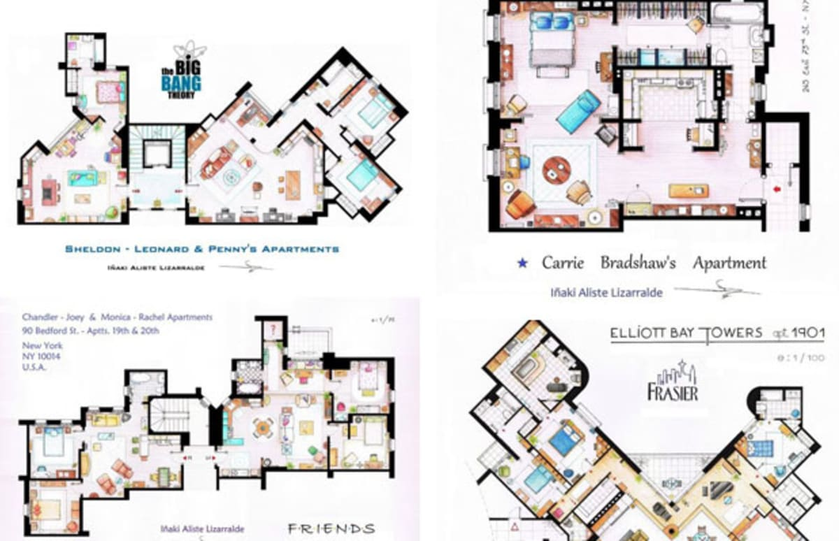 Floor plans of your favorite sitcom apartments complex for Apartment complex blueprints