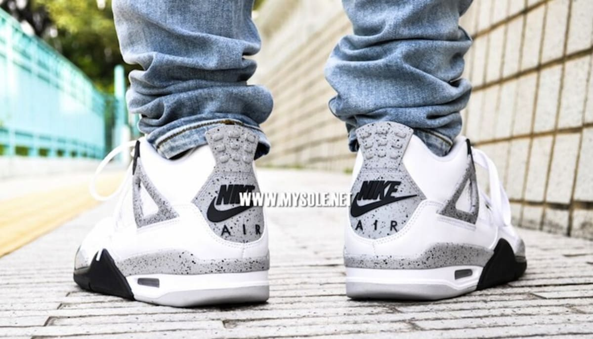 Green Jordan Cement On Feet : Air jordan iv quot white cement on feet pictures complex