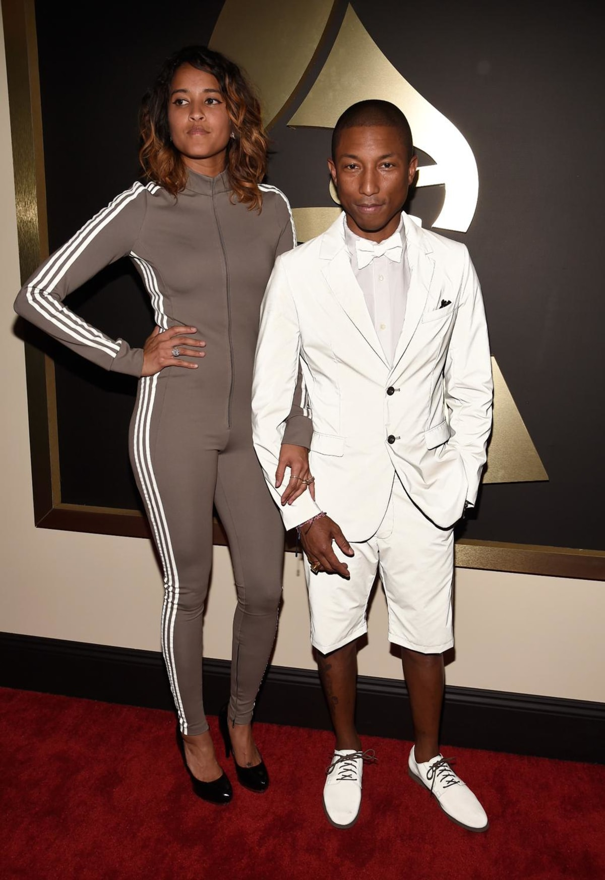 Pharrell Wore a 3M adidas Shorts Suit at the Grammys | Complex