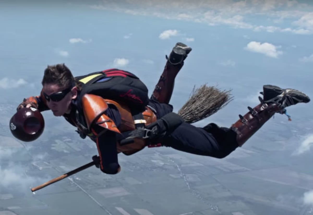 Daredevil 'Harry Potter' Fans Play Quidditch While Skydiving