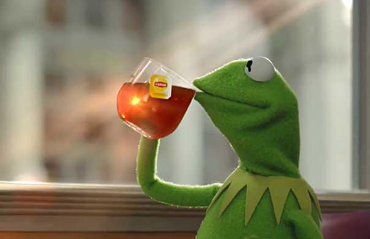 Kermit the frog drinking tea gif
