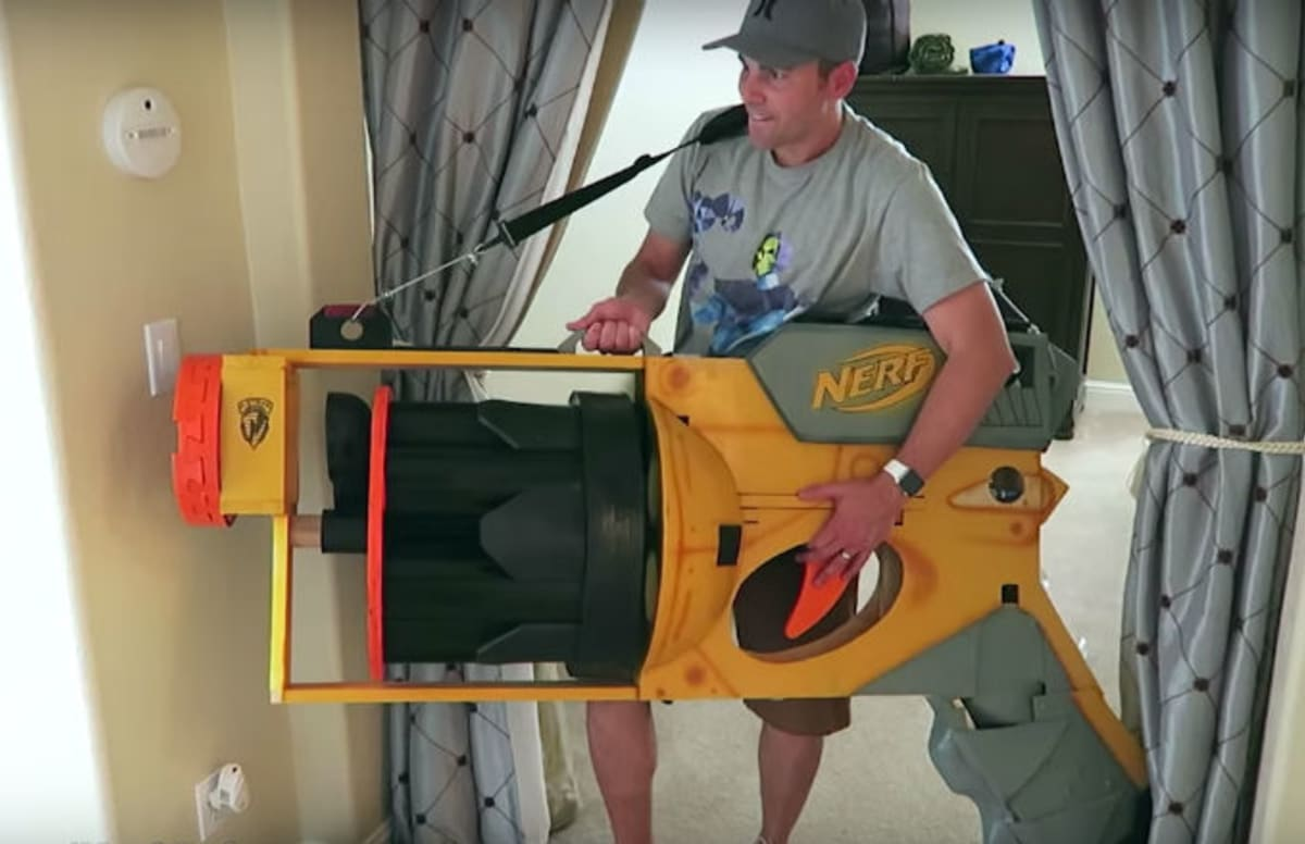 Former NASA Engineer Builds Worlds Largest Working Nerf Gun Complex - This is the worlds biggest super soaker and it shatters windows