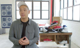 Jeff Staple in New York in front of a table of 2016 Airwalk Classics.