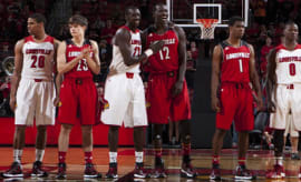 Louisville players are introduced in team adidas sneakers